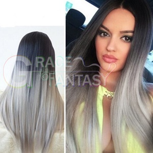 glueless synthetic wigs grey silk straight lace front heat resistant ombre with baby hair