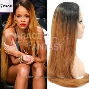 natural synthetic straight ombre lace front wig copper brown hair for black women