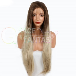 hot selling cheap light blonde synthetic lace front wigs lady's long wavy hair