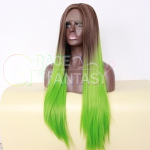 "ombre silky straight synthetic hair front lace wigs brown green two tone natural part hairline 26"" extra long"