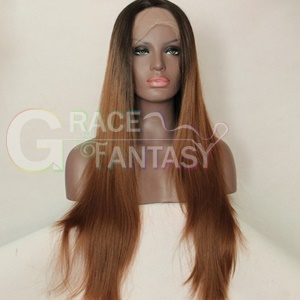free shipping kinky curly synthetic lace front wigs heat resistant natural black 16inch for women