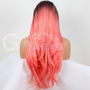 Pink Synthetic Lace Wigs