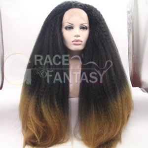 Black Ombre Blonde Kinky Straight Synthetic Wigs