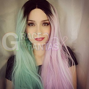 Colorful Balck Roots Half Green Half Pink Glueless Straight Synthetic Lace Front Wigs