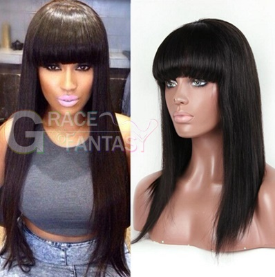 promotion!!2016 new brazilian full lace human hair wigs with bangs front wig natural straight for black women wholesale price