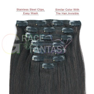 hair extensions Yaki straight Double Wefts clip in hair pieces thick