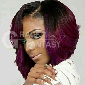 black to burgundy two tone synthetic lace front wigs