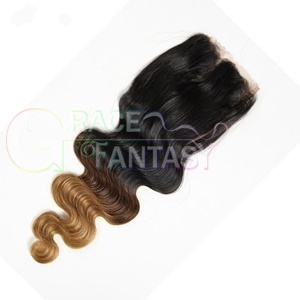 Three Tone Lace Closures with Bleached Knots