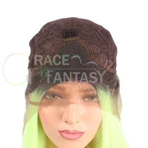 Straight Soft Yellow-Green Heat Resistant Fiber Women Hair Synthetic Wigs