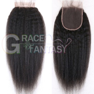 Coarse Yaki Kinky Straight Lace Closure Bleached Knots With Baby Hair