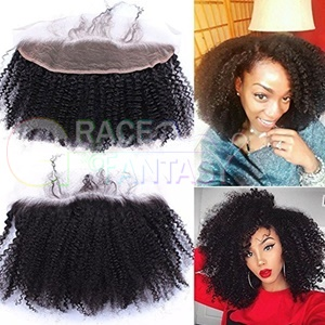 Afro Kinky Curly Human Hair Top Full Lace Frontals with baby hair