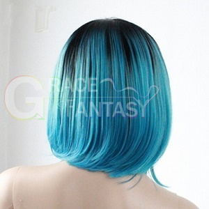 Black Ombre Blue Bob Synthetic Lace front Wig