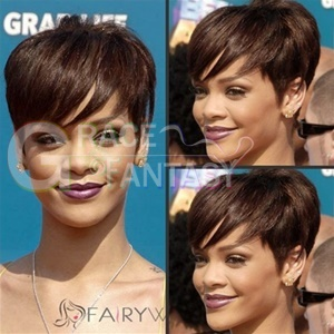 Rihanna Hairstyle Short Human Hair Wigs with Side Bangs