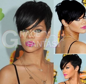 Celebrity Rihanna Hair Style Straight Brazilian No Lace Human Hair Wigs