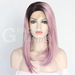 pink Bob Silk Synthetic Lace Front Wigs