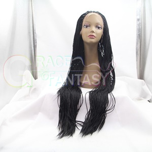 free shipping glueless kinky twist braided synthetic lace front wigs micro braids wig for african american