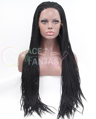 Synthetic expression black glueless box braided lace front wigs