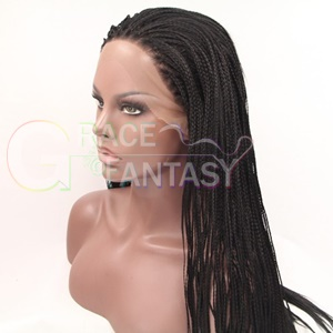 African American synthetic lace front braided wigs women wigs