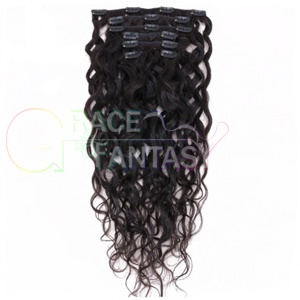 brazilian water wave human hair extension clips wet and wavy weave