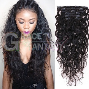 brazilian water wave human hair extension clips wet and wavy weave 7pcs/set clip in extensions virgin