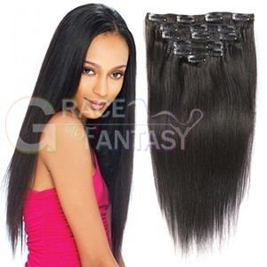 Virgin Remy Straight Clip In Human Hair Extensions