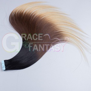 new arrival!!!high quality ombre tape hair extensions #1b/#4#27 skin weft in human