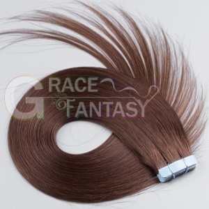 silky straight 100% malaysian virgin tape hair extensions 20pcs remy human brown color