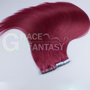 virgin remy tape in hair extensions 99j/burgundy straight