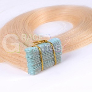 free shipping 22inch blonde skin weft hair extensions virgin remy tape 20pcs/set