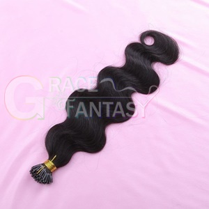 high quality wholesale itip hair extensions body wave keratin bond natural black