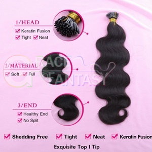 i tip hair extensions brazilian body wave 100g #1b black keratin bonded
