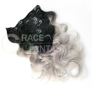 silver grey virgin remy ombre clip hair extensions