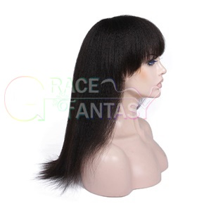 Full Lace Human Hair Wigs yaki straight with Bangs