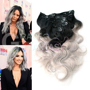 ombre brazilian colored hair extension clips body wave silver grey clip in 8pcs 1b/gray virgin remy extensions full head