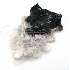 ombre brazilian colored hair extension clips body wave silver grey clip in