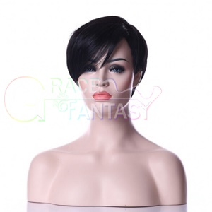 unprocessed virgin brazilian glueless full lace short human hair wigs with bangs straight bob front wig for black women