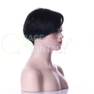 short straight bob lace front wig with bangs
