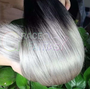 1B Grey color Weft Hair Extensions
