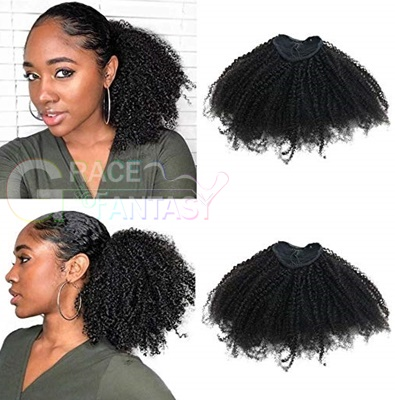 4B4C Afro Kinky Curly Ponytails Clip In Human Hair Extensions