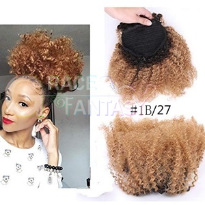 Kinky Curly Ponytail Hair Extensions 4B 4C Clip in