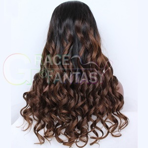 Grace Fantasy Ombre Brazilian Spring Curly Lace Front Human Hair Wigs Brown Glueless Body Wave Remy Wig With Baby Hair