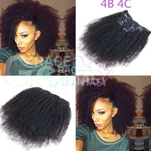 Kinky Curly Clip In Human Hair Extensions for Black Women