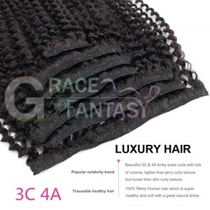Mongolian Afro Kinky Curly Clip In Human Hair Extensions