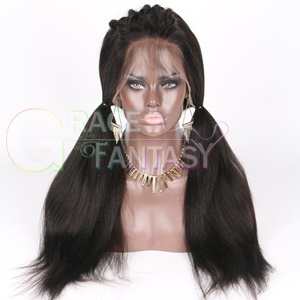 human hair yaki straight lace front wigs pre plucked gluess lace wig