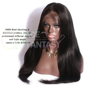 natural black human hair yaki straight lace front wigs