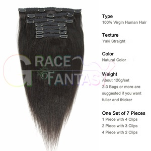 Human hair clip in hair extensions natural black yaki straight clip on hair extensions