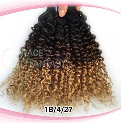 Afro Kinky Curly Weave Ombre Human Hair