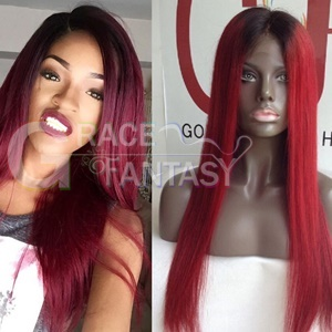 Grace Fantasy Black to Red Straight Lace Front
