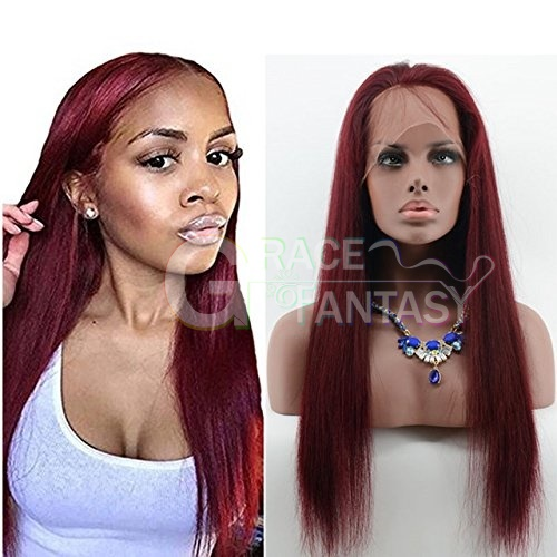 Grace Fantasy #99j Red Lace Front Wigs Human Hair Straight Brazilian Virgin Human Hair Wigs Pre Plucked Glueless Lace Wigs Human Hair with Baby Hair