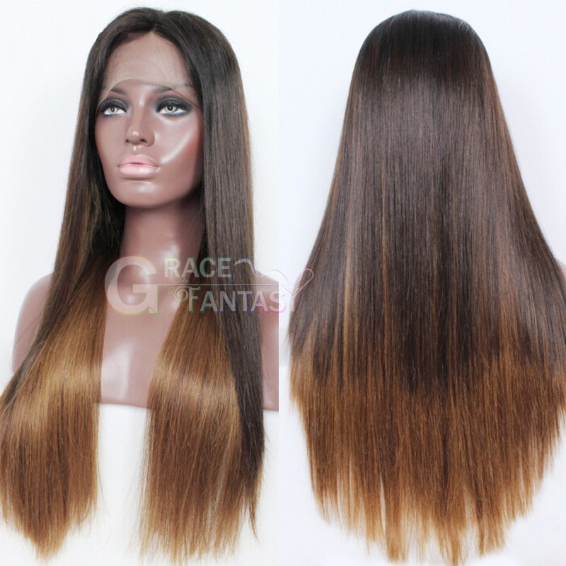 Grace Fantasy Brown to Blonde Lace Front Wigs Human Hair Straight Brazilian Virgin Human Hair Wigs Pre Plucked Glueless Lace Wigs Human Hair with Baby Hair for Women
